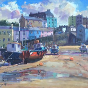 Awaiting the Tides Return, Tenby is an original oil painting by Jon Houser
