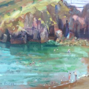 Bathers at Castle Beach Tenby is an oil painting by Jon Houser