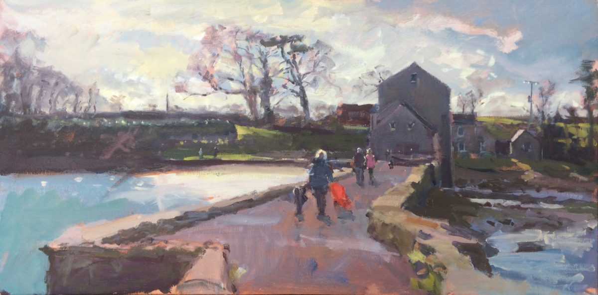 Carew Tidal Mill with Red Stroller - painting by Jon Houser