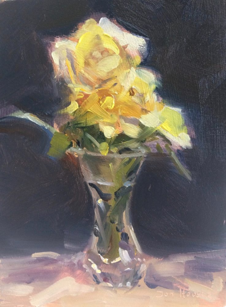 Miniature Yellow Rose oil painting