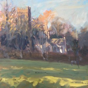 Low Evening Light at Lawrenny Church is an original oil painting by Pembrokeshire artist Jon Houser