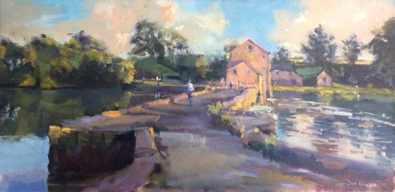 """Midsummer Sunset at Carew Tidal Mill"" an original oil painting by Pembrokeshire Artist Jon Houser"