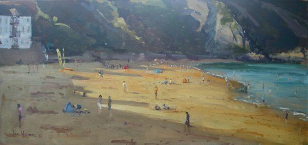 Evening Beach Shadows at Tenby - original oil painting by Jon Houser