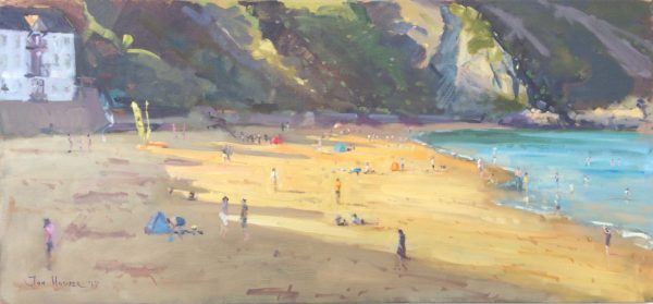 Evening Beach Shadows at Tenby is a original oil painting by Jon Houser