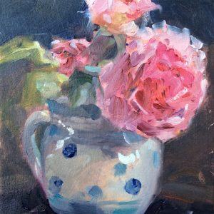 James Galway Roses in a Blue Spotted Jug by Jon Houser