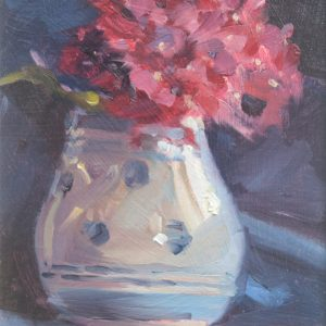 Pink Hydrangea in a Spotted Vase by Jon Houser