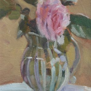 Pink Rose in a Rye Pottery Jug by Jon Houser