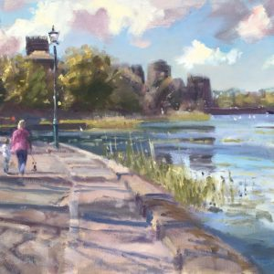 Springtime Stroll towards Pembroke Castle original oil painting showing the path towards the castle with millpond on the left of the painting