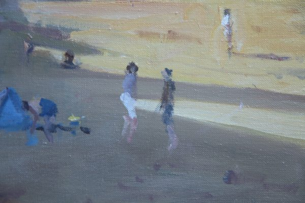 detail of painting Evening Beach Shadows at Tenby