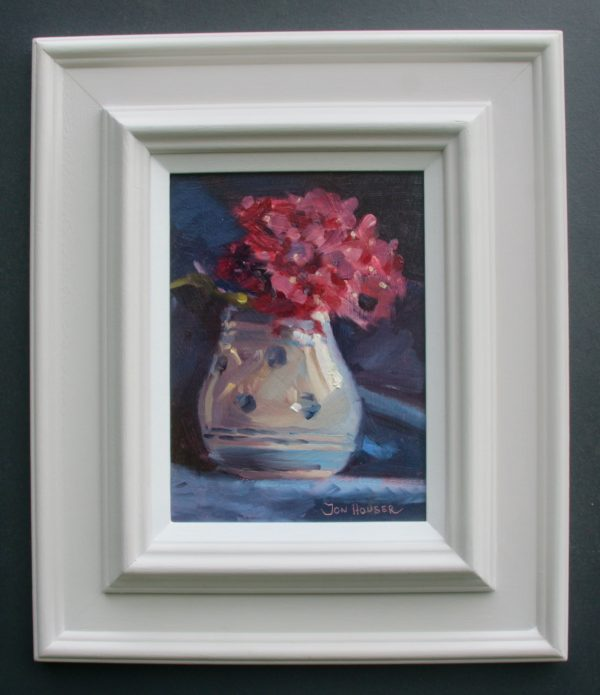 Pink Hydrangea's in a Spotted Vase (framed)