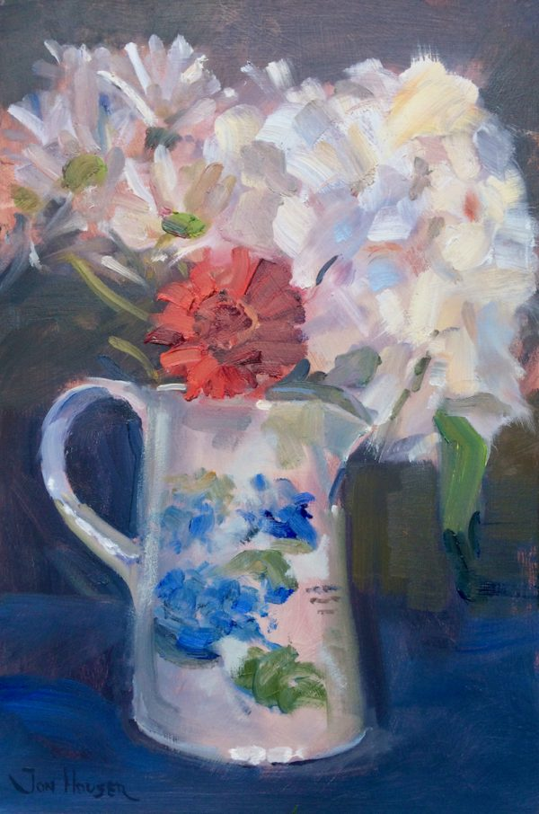 Flowers in a Portmeirion Jug is an original oil painting by Jon Houser