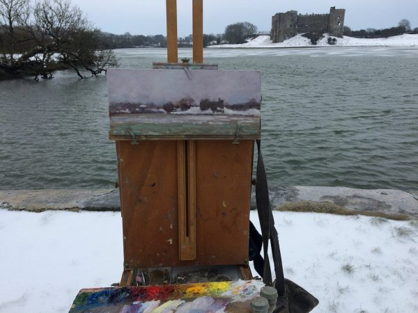 painting at carew in winter image