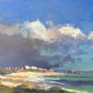 autumn showers over tenby framed painting