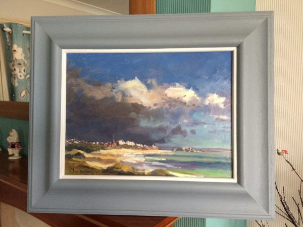 autumn showers at tenby framed painting