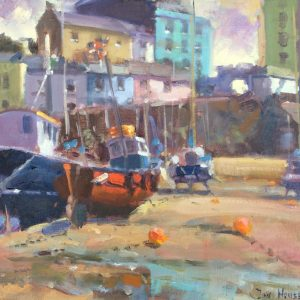 Awaiting the Tide at Tenby original oil painting by Jon Houser. Fishing boats at tenby harbour at low tide with town houses in background