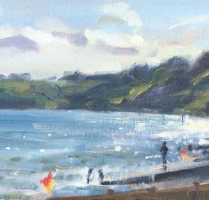 early july evening at amroth framed painting