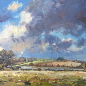 Landscape towards lawrenny framed painting