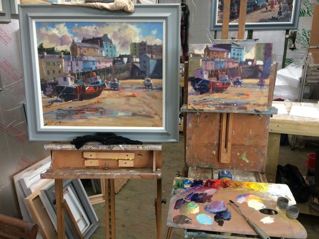 tenby harbour paintings in the studio