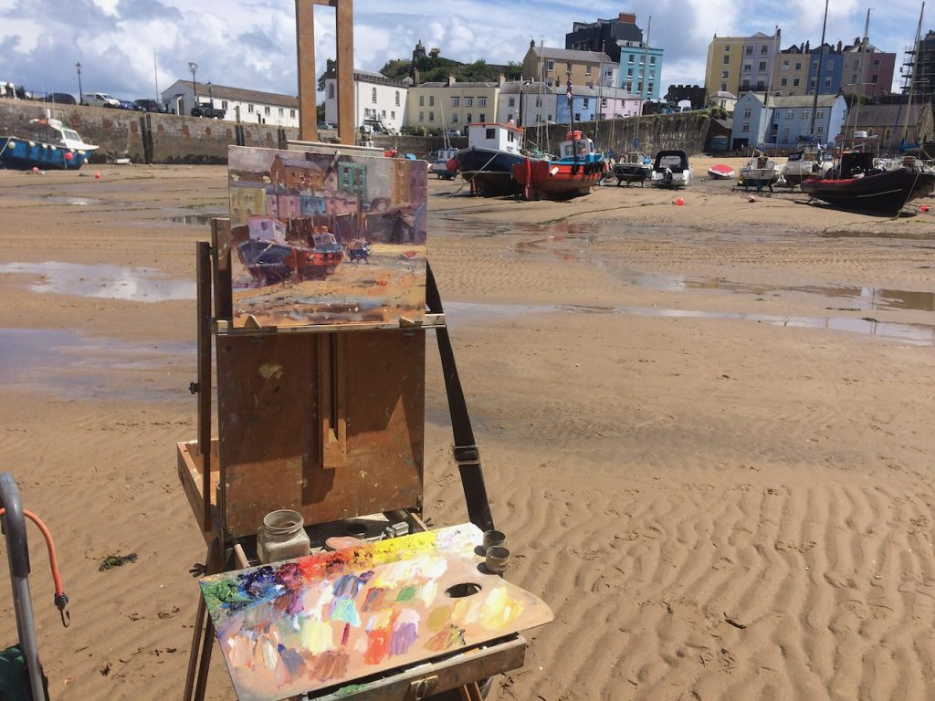 painting at tenby harbour