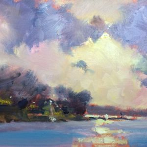 original oil painting of the morning light over Cosheston Pill water