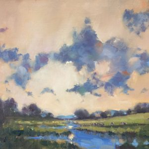 "an original oil painting of Carew river with a Sunlit sky and light shining on the water. The painting measures 12""x 16"""