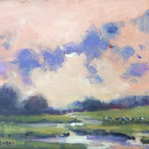"An original oil painting study measuring 6""x 8"" showing Carew river with warm Sunlit sky and Blue clouds"