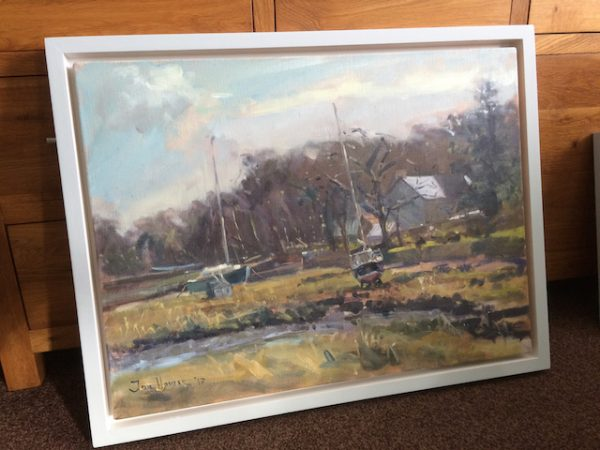 Winter Light at Angle in its box frame painted in Skylight Green