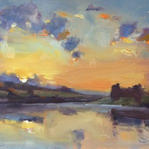 Sunrise at Carew Castle an original oil painting by Jon Houser
