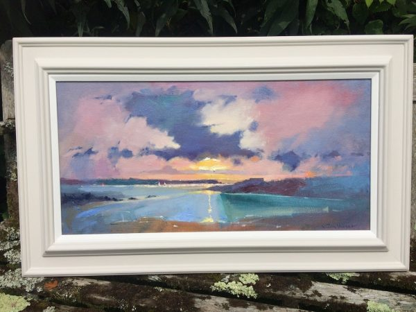 west angle bay sunset framed