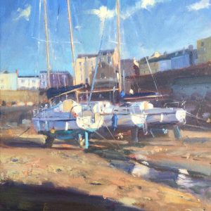 Yachts at Tenby Harbour is an original oil painting by Jon Houser