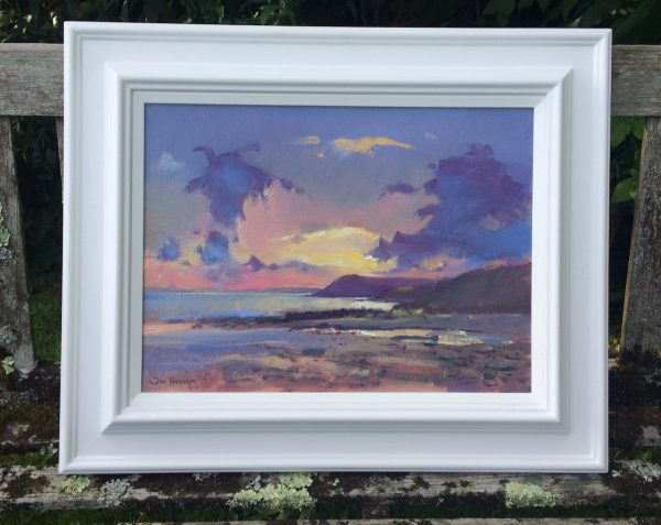original oil painting titled Pembrokeshire Seascape in its frame