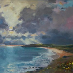 Sunbeams over Freshwater East oil painting