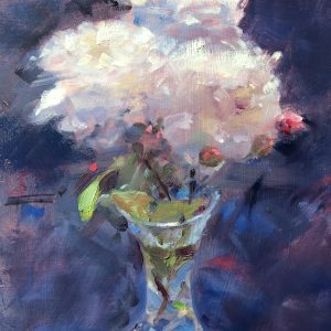 white roses in a cut glass vase