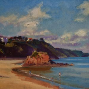 North Beach, Tenby, Goscar Rock and First Point original oil painting by Jon Houser
