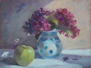 Pink Hydrangeas is an original oil painting by Jon Houser